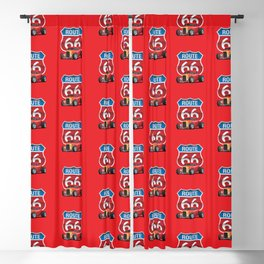 Route 66 Sign with Classic American Red Hotrod Blackout Curtain