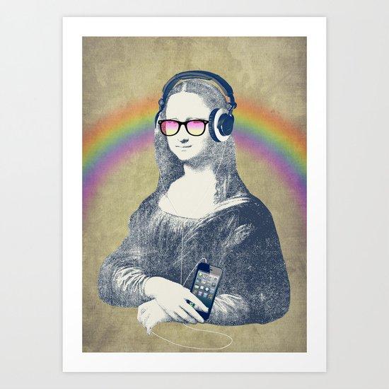 Modern Lisa (with smartphone) Art Print