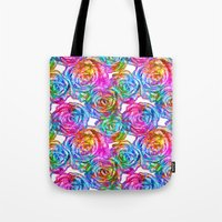 roses Tote Bags featuring Roses by Aloke Design