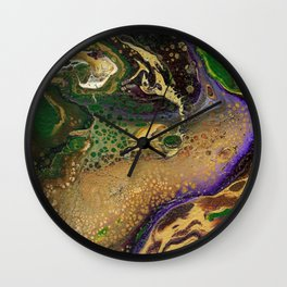 Fluid Gold XII - Abstract, textured, fluid, acrylic painting Wall Clock