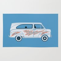 grease Area & Throw Rugs featuring Grease Van Lightning by Brandon Ortwein