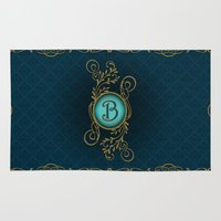 monogram Area & Throw Rugs featuring Monogram B by Britta Glodde