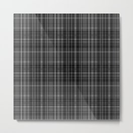 Black Grey Plaid Metal Print