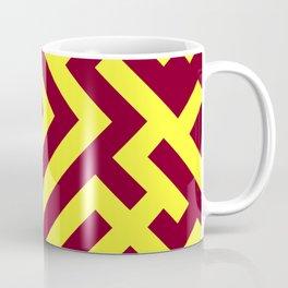 Electric Yellow and Burgundy Red Diagonal Labyrinth Coffee Mug