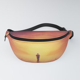 Self overcome, time travel concept, achieving success Fanny Pack