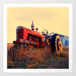 old tractor red machine vintage Art Print