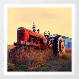 old tractor red machine vintage Art Print