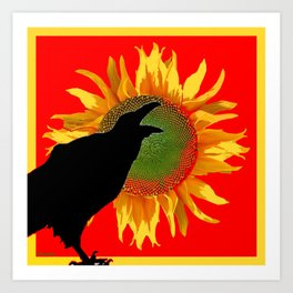 Red & Yellow Sunflower Cawing Crow/Raven Art Print