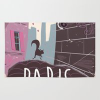 travel poster Area & Throw Rugs featuring Vintage Paris Travel Poster cartoon by Nick's Emporium