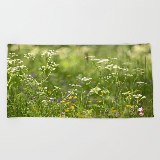 Green Summer Meadow  Beach Towel
