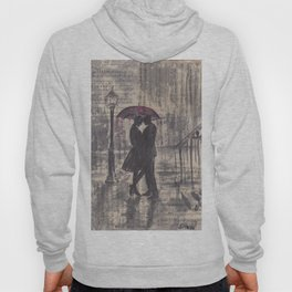 Silouette lovers on rainy street Hoody