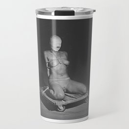 Naked woman tied up with rope and image in black and white Travel Mug