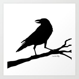 Raven - black/white Art Print