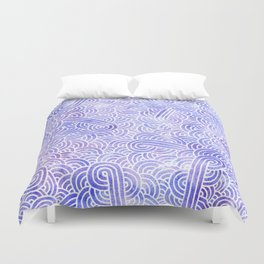 Lavender and white swirls doodles Duvet Cover