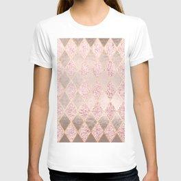 Blush Rose Gold Glitter Argyle T-shirt