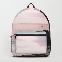 Laguna Beach | LoFi Relaxed Aesthetic Pinkish Sunset Palm Trees Hippie Ocean Horizon Waves Backpack