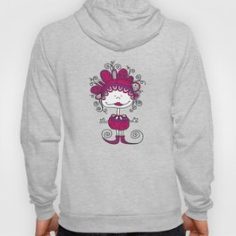 Doodle Doll with Curls on Pink Background Hoody
