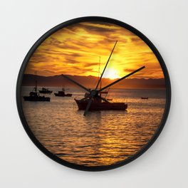 The Best Part of Waking Up boats in Port San Luis at Sunrise Wall Clock