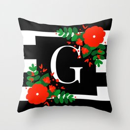 G - Monogram Black and White with Red Flowers Throw Pillow