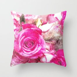 Bunch of Pink roses (watercolour) Throw Pillow