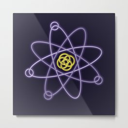 Gold and Silver Atomic Structure Metal Print