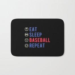 Funny Eat Sleep Baseball Repeat Bath Mat