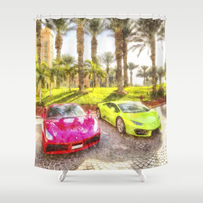 Dubai Super Cars Art Shower Curtain