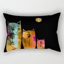 Cat Family at Night Rectangular Pillow