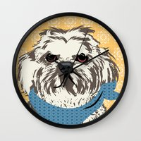 shih tzu Wall Clocks featuring Shih Tzu Dog Art by ialbert