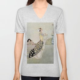 """""""Nightingale and Rose"""" Fairy Art by Charles Robinson Unisex V-Neck"""