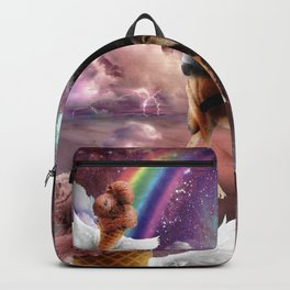 Cat Riding Wolf With Flying Space Ice Cream Backpack