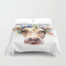 Cow Head, Floral Farm Animal Artwork Duvet Cover