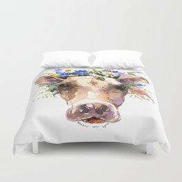 Cow Head, Floral Farm Animal Artwork farm house design, cattle Duvet Cover