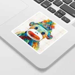 Sock Monkey Art - Your New Best Friend - By Sharon Cummings Sticker