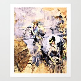 Giovanni Boldini - Washerwoman and a young brunette by the seine, paris - Digital Remastered Edition Art Print