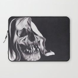Realism Charcoal Drawing of Reaper Skull Laptop Sleeve