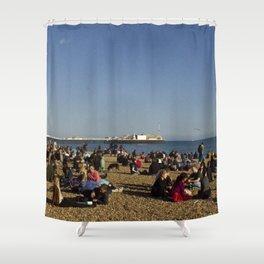 Busy Brighton Beach Shower Curtain