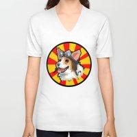 corgi V-neck T-shirts featuring corgi  by sebastian aburto