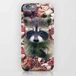 Cute Floral Raccoon Flower iPhone Case