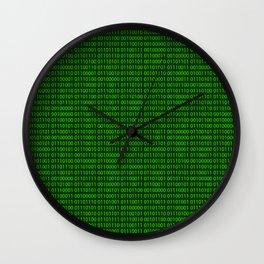 Binary numbers pattern in green Wall Clock