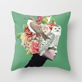 Lady with Birds(portrait) 2 Throw Pillow