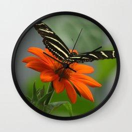 Zebra Longwing Butterfly Wall Clock