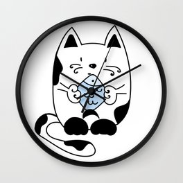 Cat with a fish Wall Clock