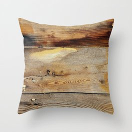 Wooden shipboard with nails and screws Throw Pillow