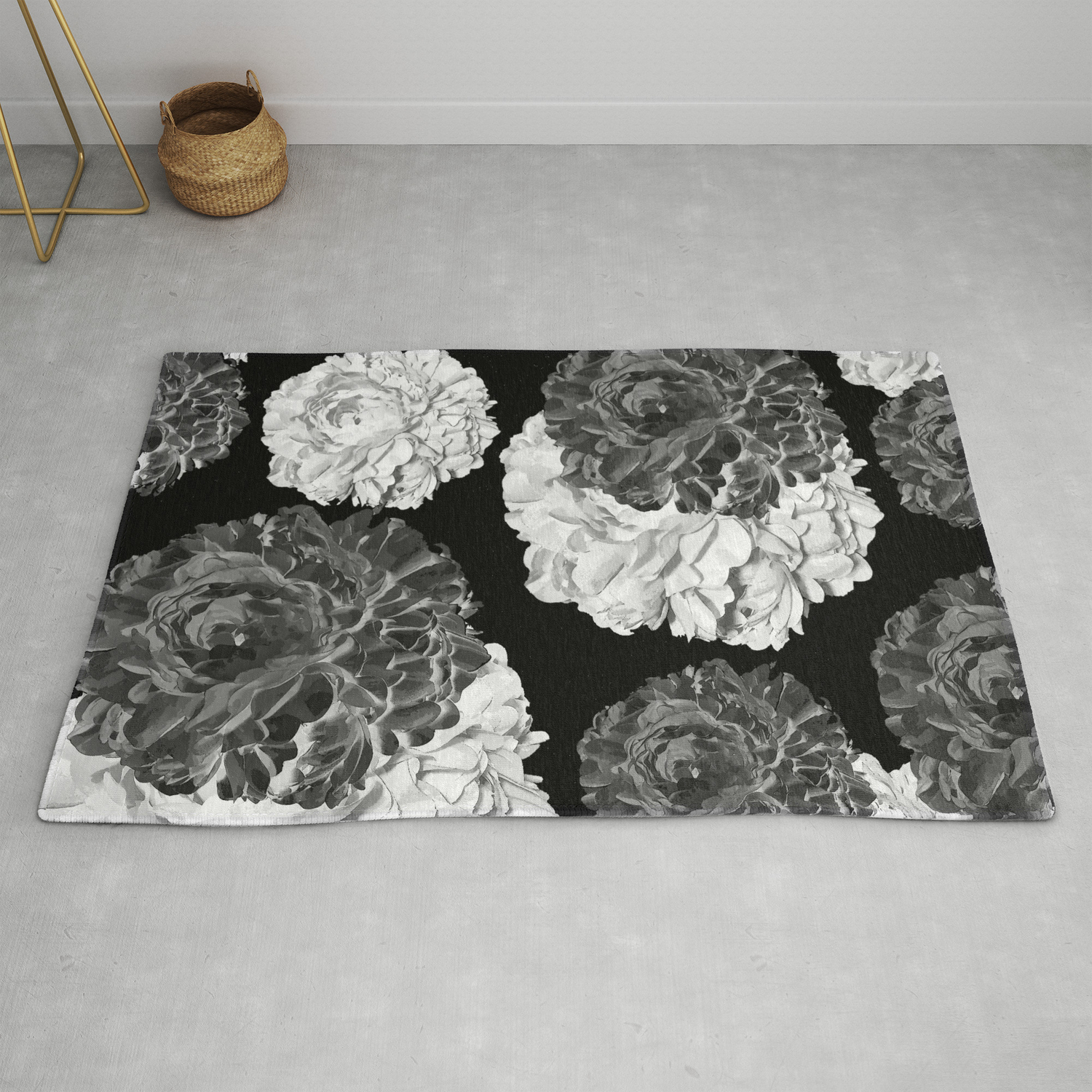 Cabbage Roses Black And White Rug By