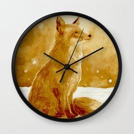 Fox in winter wonderland  Wall Clock