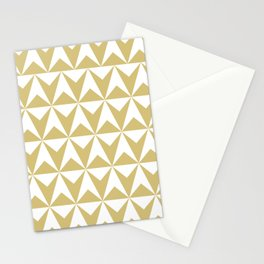 Mid Century Modern Triangle Pattern 531 Gold Stationery Cards