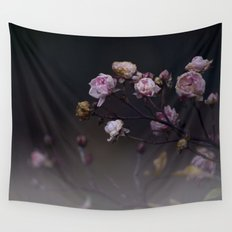 Delicate Dried Pink Mini Roses on Smoky Dark Grey Wall Tapestry