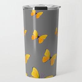 YELLOW BUTTERFLIES CHARCOAL GREY ART Travel Mug