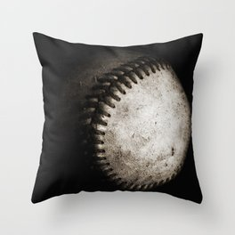 Battered Baseball in Black and White Throw Pillow